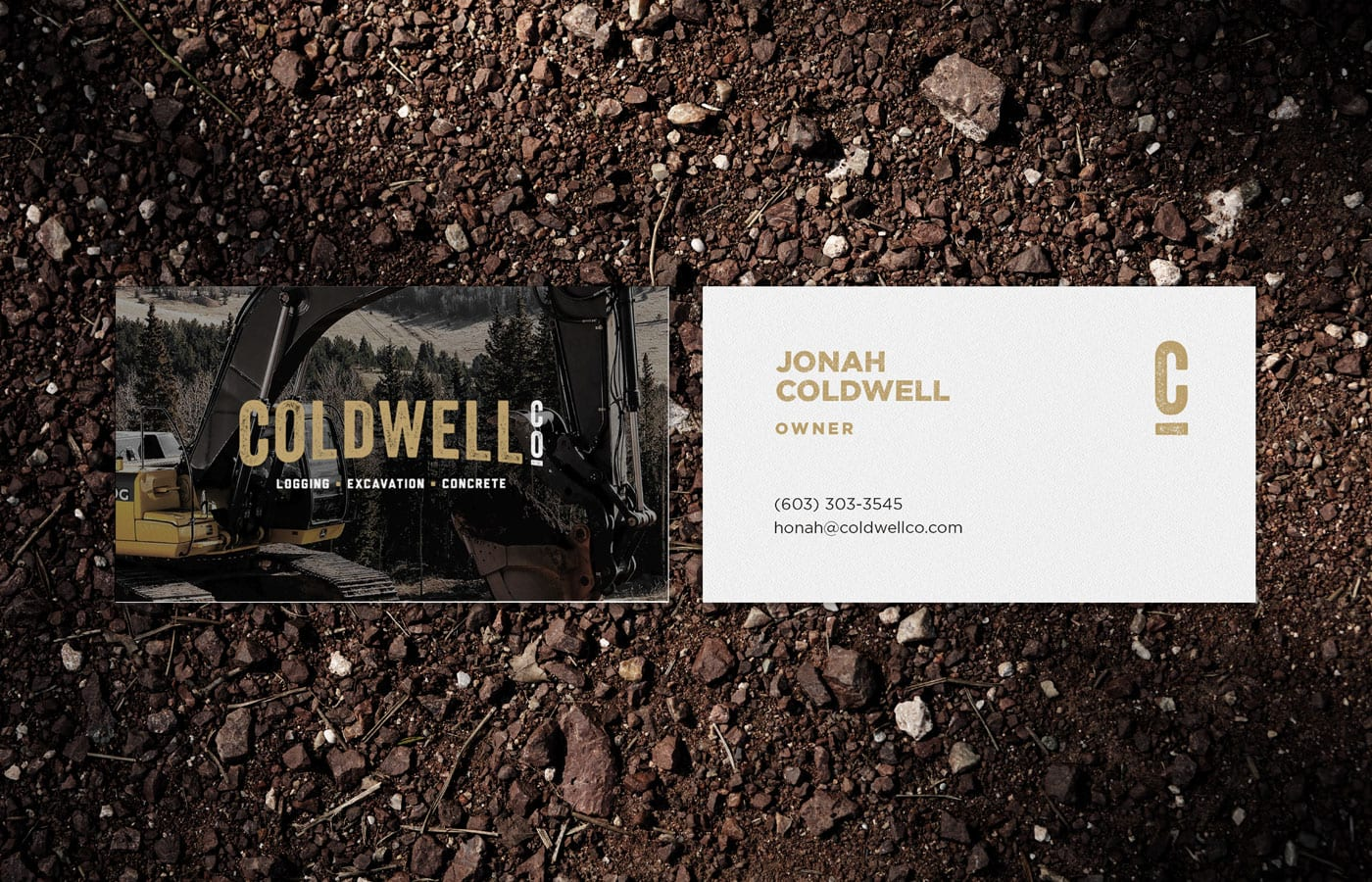 Business Card on Dirt Background